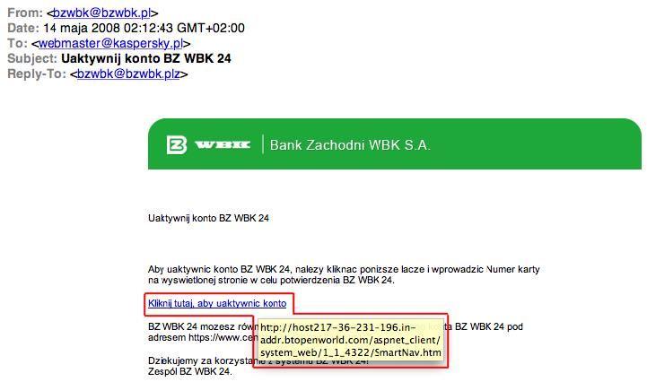 Przykład phisingu w wiadomości email